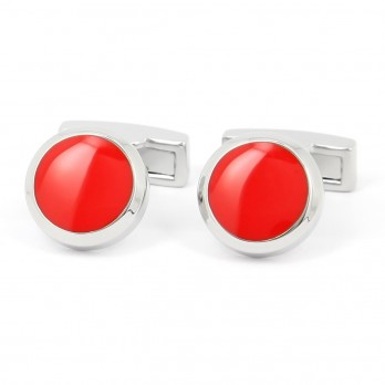 Grenadine red round cufflinks - Montreux II