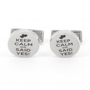 Wedding cufflinks - Keep Calm She Said Yes
