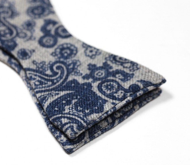 Grey Bow Tie With Blue Paisley