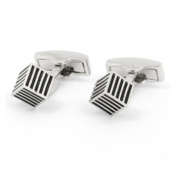 Cube Cufflinks striped - Paros