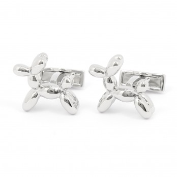 Silver balloon dog cufflinks - Jeff II