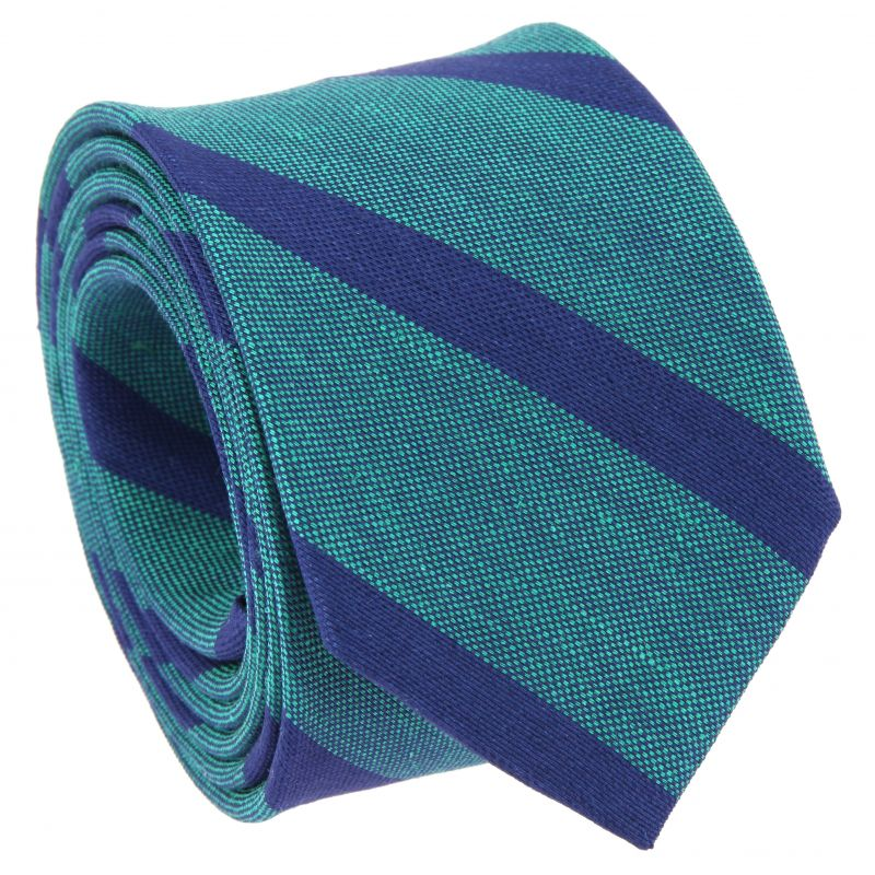 Viridian Green Tie with Navy Blue Stripes in Linen and Silk Basket Weave