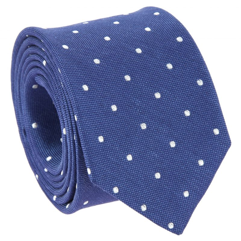 Blue Tie with White Dots in Linen and Silk Basket Weave