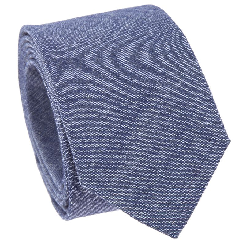Denim Blue Tie in Washed Cotton