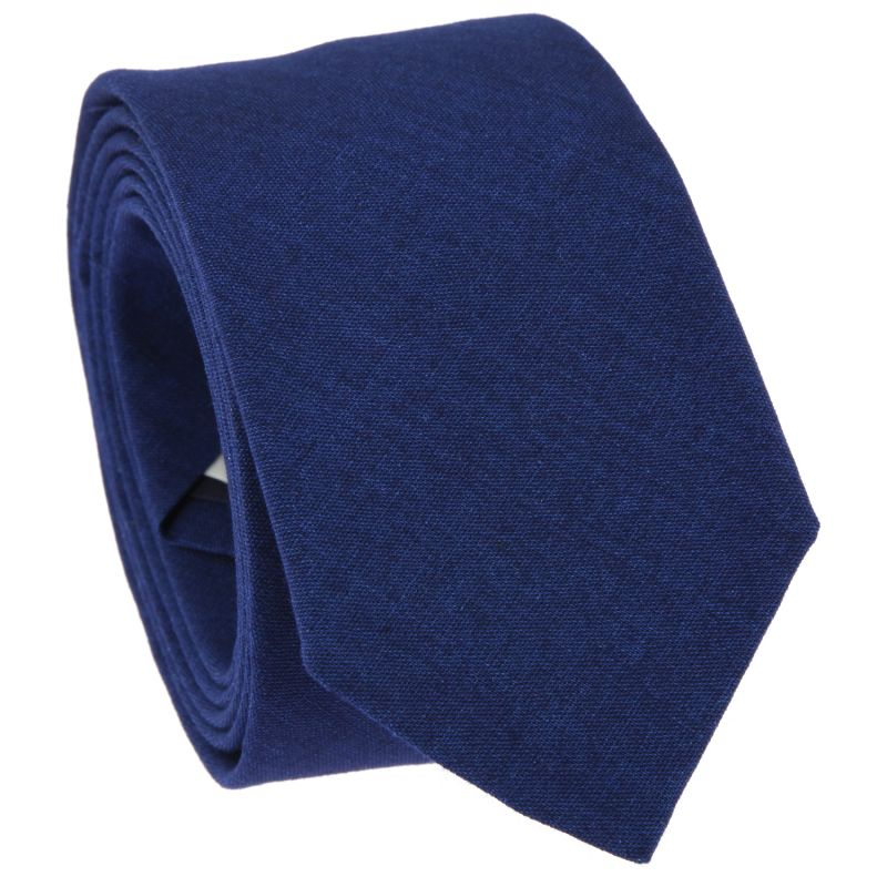 Navy Blue Tie in Washed Cotton