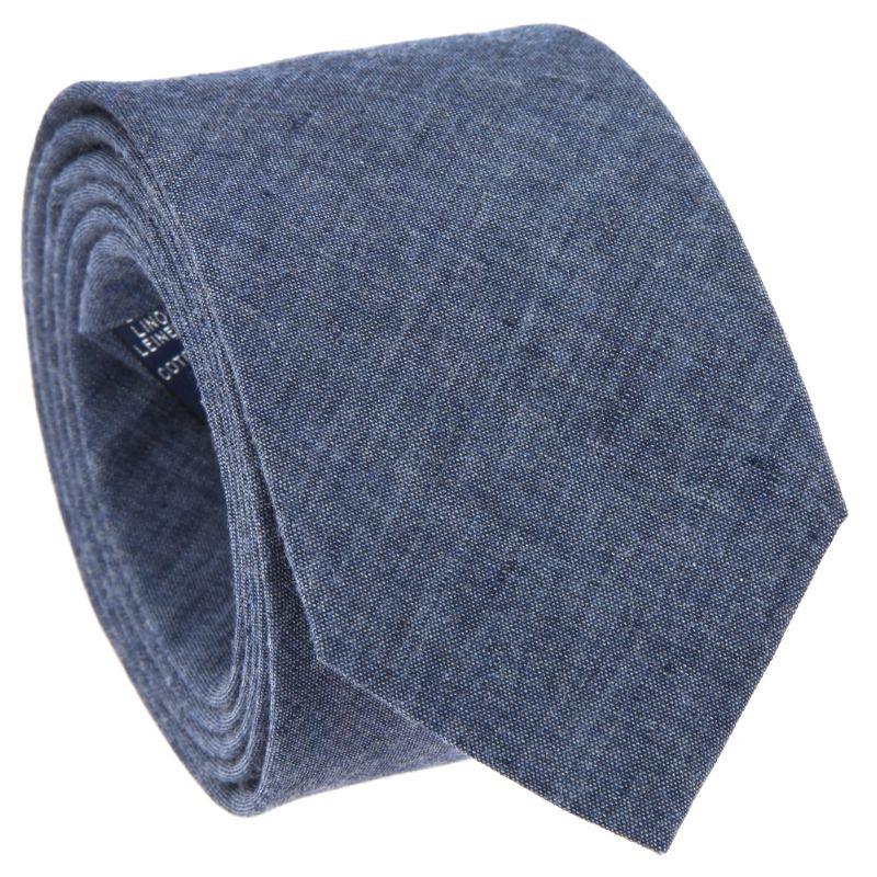 Denim Blue Tie in Linen and Cotton