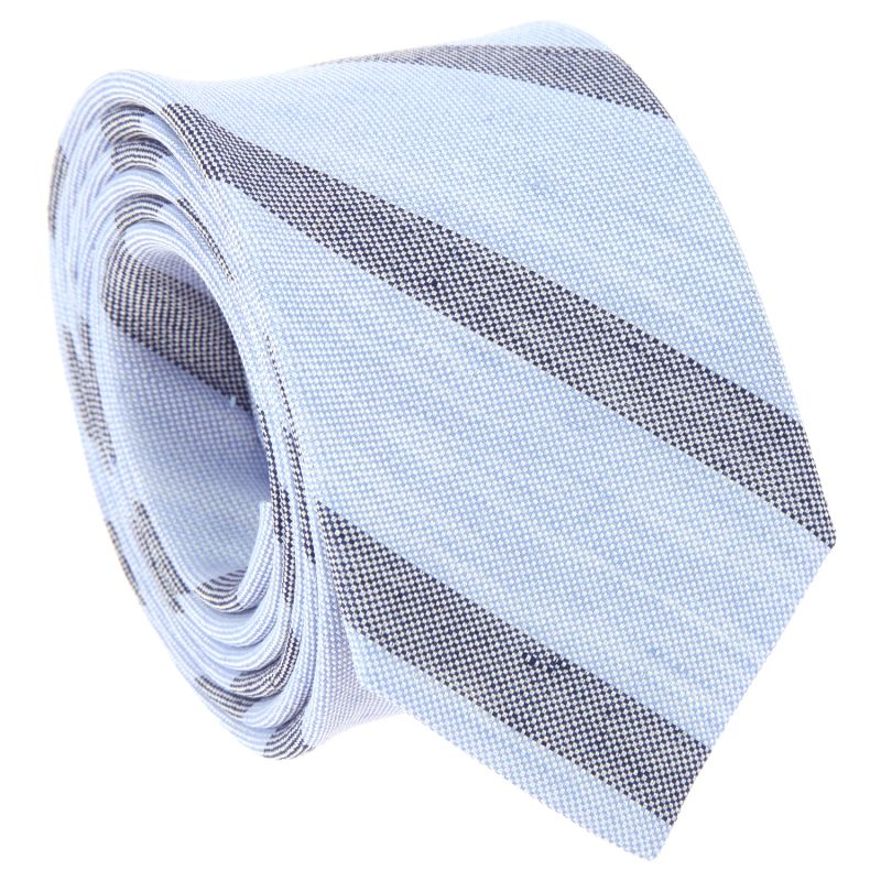 4379f8083923 Light Blue Tie with Navy Blue Stripes in Basket Weave Linen and Silk