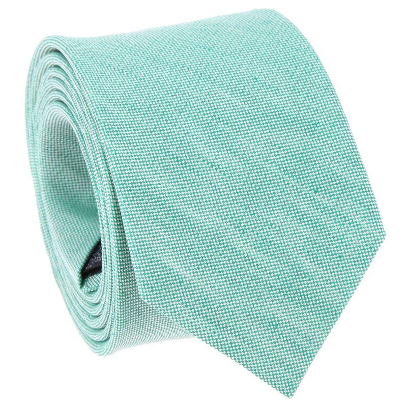 Green Tie in Basket Weave Linen and Silk