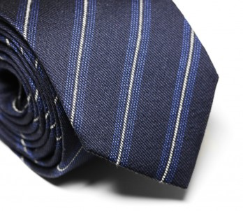 Dark Blue Wool and Silk Tie with Thin Grey Stripes - Brentwood