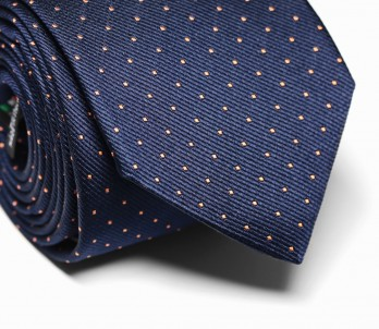 Navy Blue Tie with Small Orange Polka Dots - Washington II