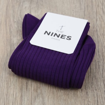 Purple cotton lisle socks, fine ribbed