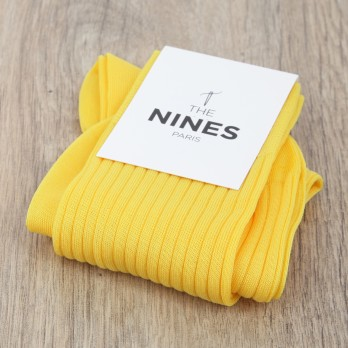 cotton lisle socks in canary yellow