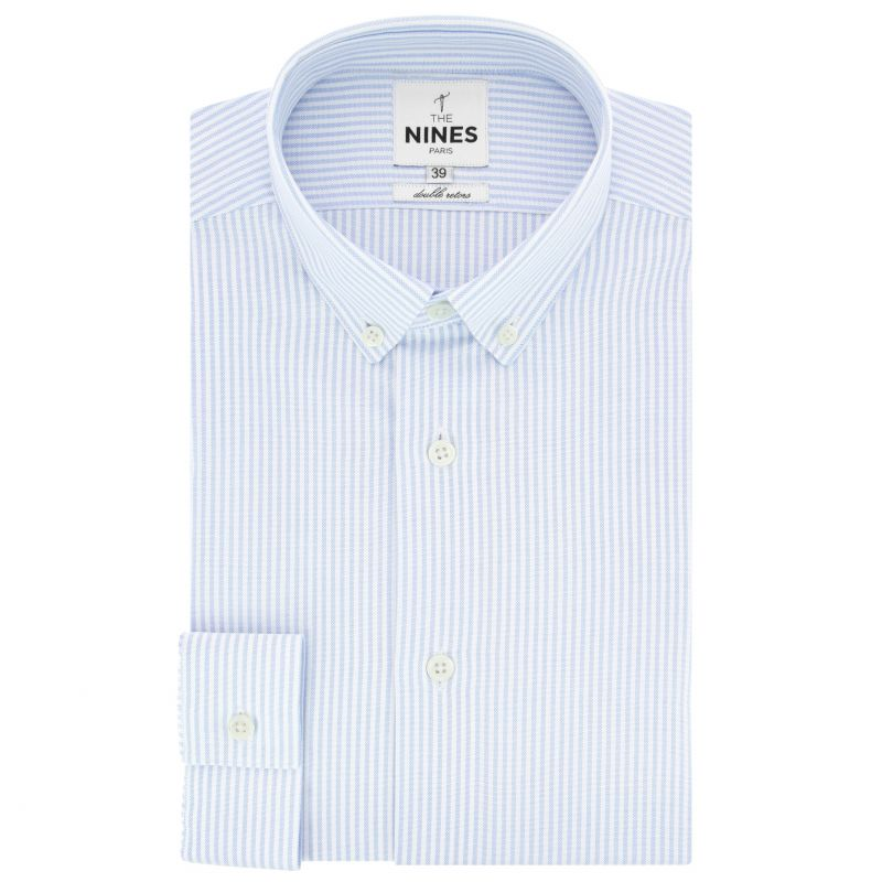 White button down collar oxford shirt with light blue stripes slim fit