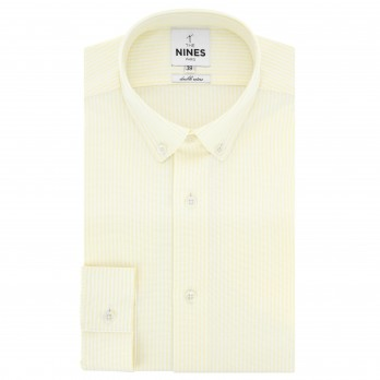 White button down collar oxford shirt with yellow stripes