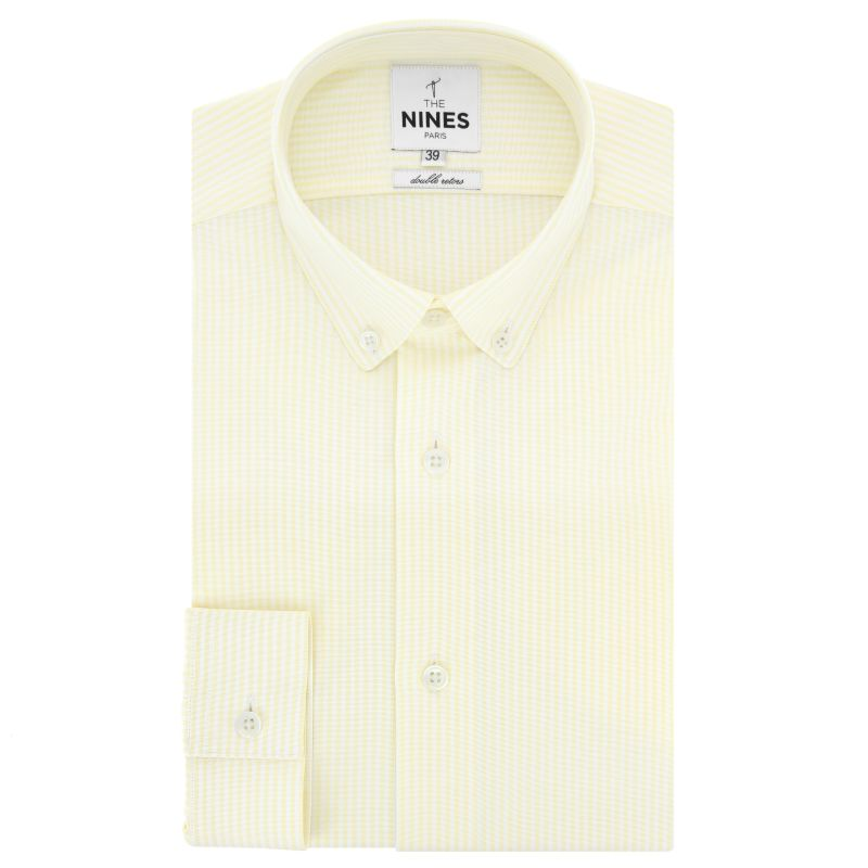 a457436c White button down collar oxford shirt with yellow stripes slim fit