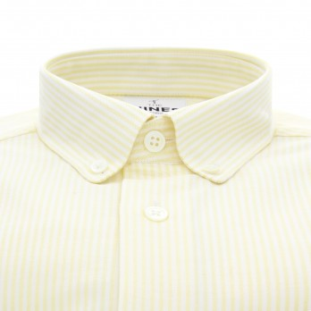 White button down collar oxford shirt with yellow stripes slim fit