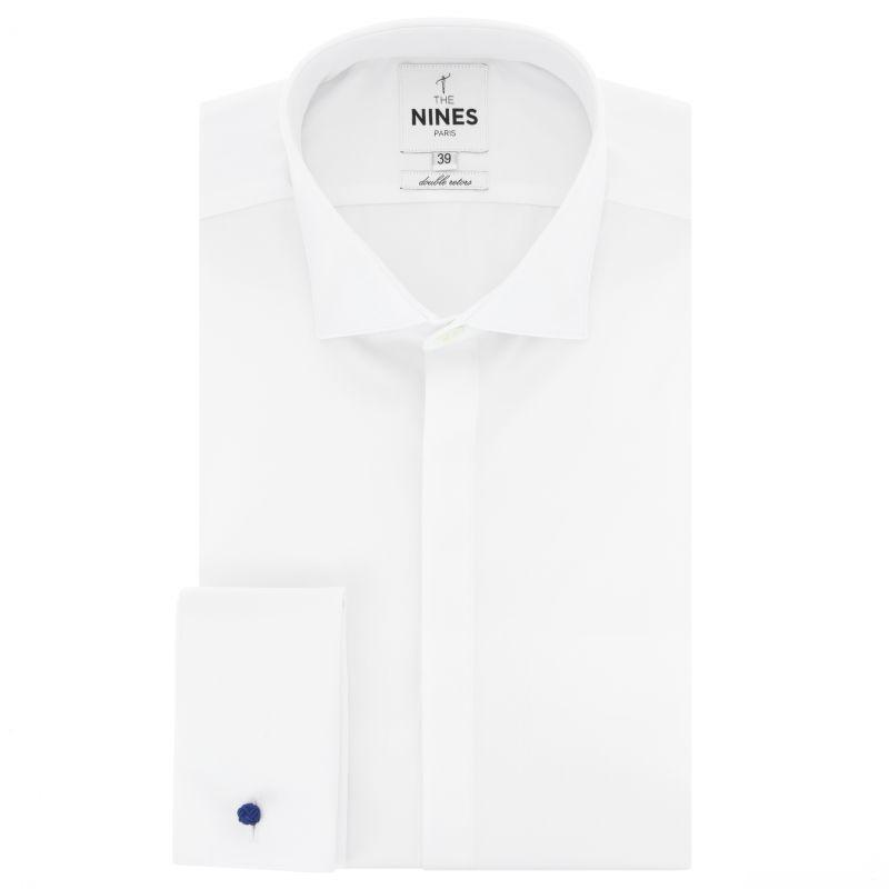 White shark collar shirt in poplin slim fit