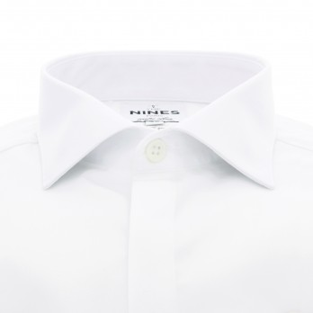 White shark collar French cuff shirt in poplin slim fit