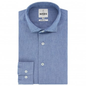 Blue shark collar shirt in chambray slim fit