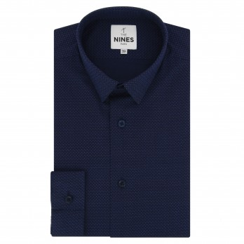 Navy blue small collar shirt with dots slim fit