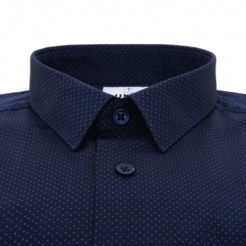 Navy blue small collar shirt with dots