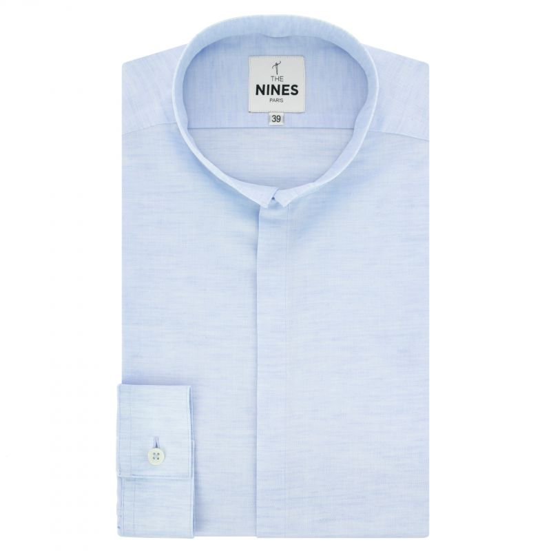 2325b478a3 Light blue reverse collar shirt in variegated linen and cotton slim fit