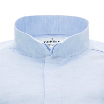 Light blue reverse collar shirt in variegated linen and cotton