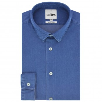 Blue small collar shirt in chambray