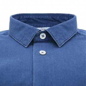 Blue small collar shirt in chambray slim fit