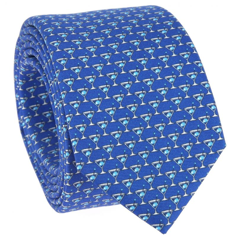 Blue Tie with Light Blue Cocktail Pattern in Printed Silk