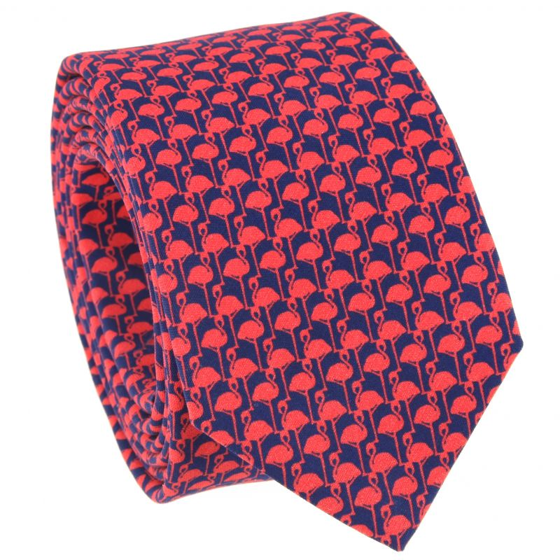 Red Tie with Pink Flamingo Pattern in Printed Silk