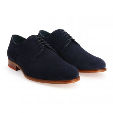 Derby shoes calf velvet blue navy