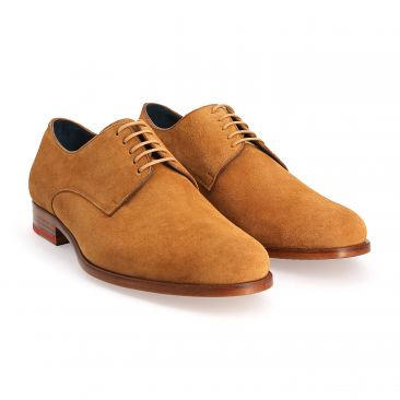 Derby shoes calf velvet camel
