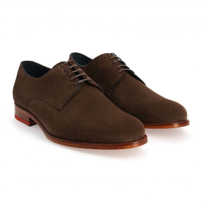 Derby shoes calf velvet brown