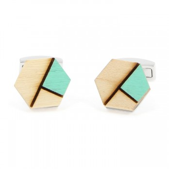 Norway spruce cufflinks with a green insert - Sitka