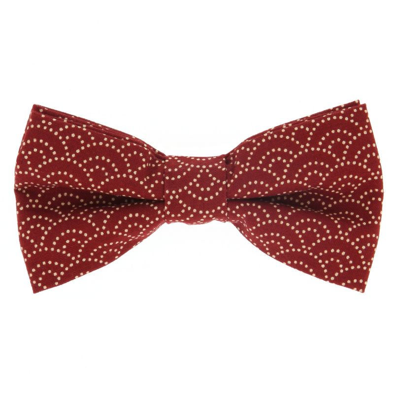 Red Bow Tie with Waves Pattern in Japanese Cotton