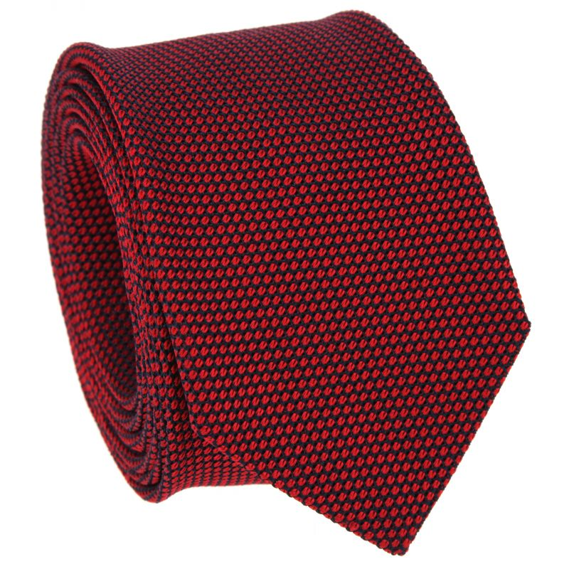 Red and Navy Blue Grenadine Silk Tie - Grenadine VI