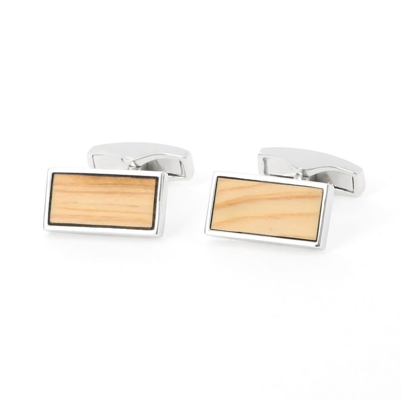 Cedar wood sterling silver cufflinks - Colisée