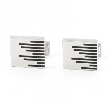 Black striped cufflinks - Saint Briac