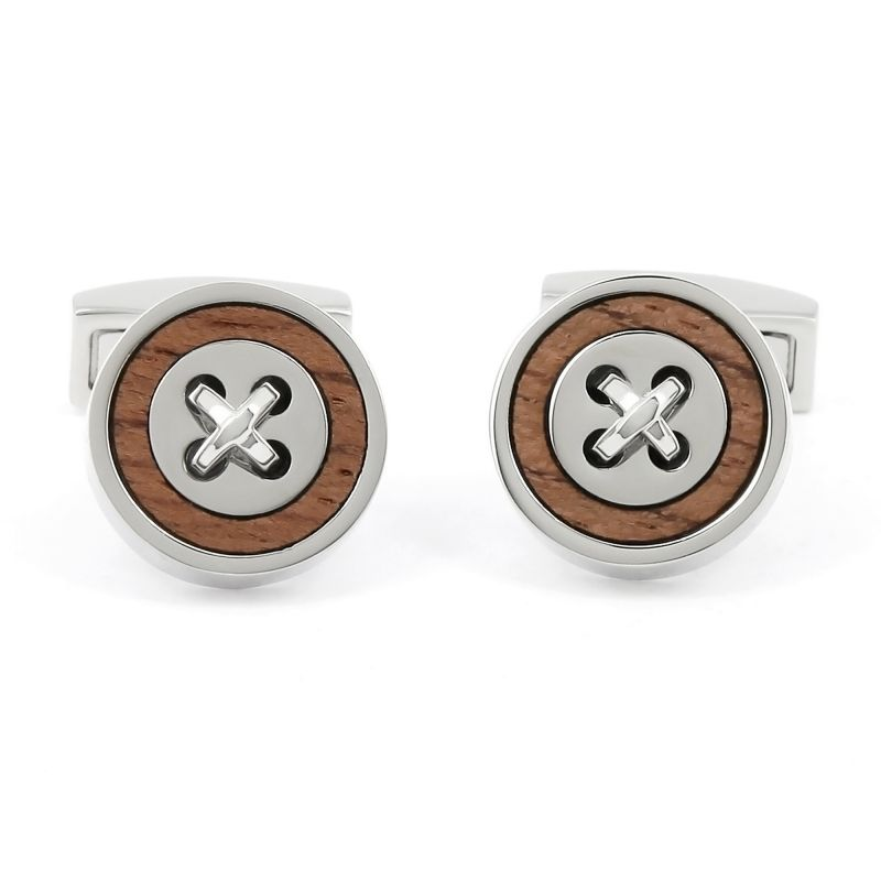 Wooden and silver cufflinks - Baltimore