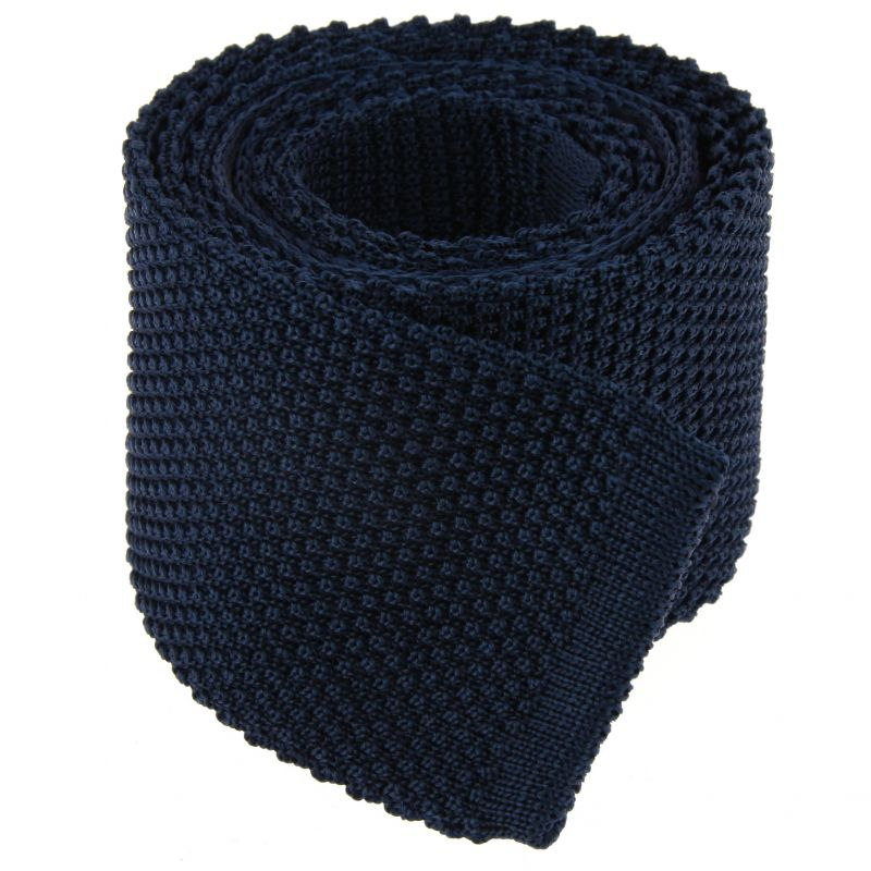 Knit Navy Blue Tie - Monza