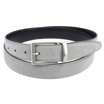 Reversible navy blue and grey belt in leather and nubuck - Clint