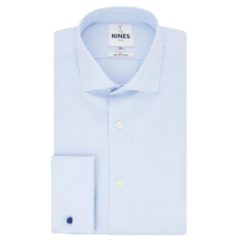 Sky blue houndstooth shark collar French cuff shirt