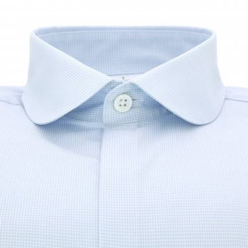 Sky blue round collar shirt mini houndstooth check Slim-fit