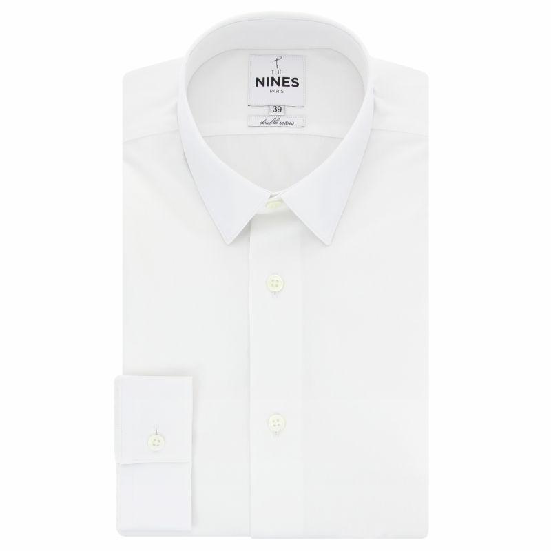 White Poplin Small Collar Button Cuff Shirt