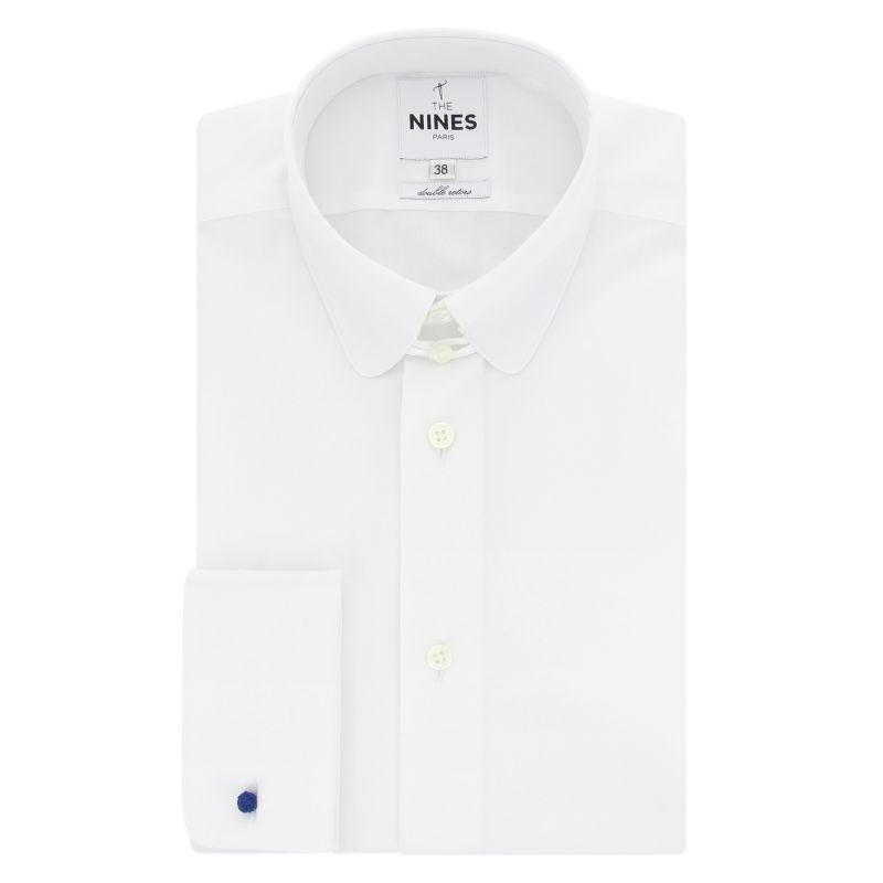 dabdaca94 White rounded tab collar French cuff shirt - The Nines