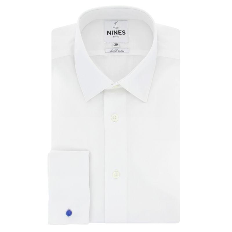 White Japanese collar French cuff shirt