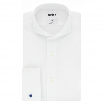 White cutaway collar French cuff shirt