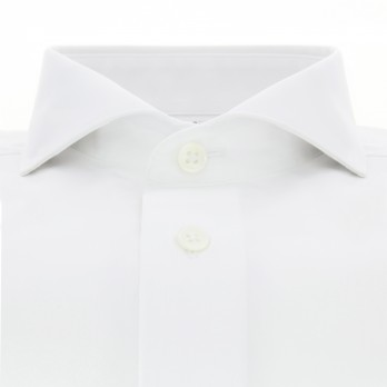 White cutaway collar French cuff shirt Slim-fit