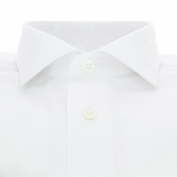 White shark collar French cuff shirt
